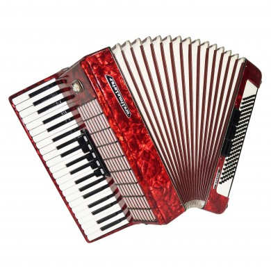 Close to New Weltmeister Stella 120 Bass German Piano Accordion Straps Case 1675, Rich and Powerful Sound!