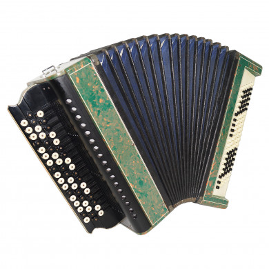 Handmade Vintage Russian Bayan, Folk Button Accordion, incl New Straps Case 1710, Rare and Amazing musical instrument, Wonderful Sound!