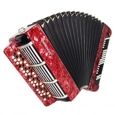 Bayan Moscow made in Russia 100 Bass Folk Button Accordion New Straps Case 1702, Rich and Beautiful Sound!