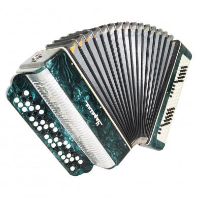 Bayan Ukraine, 3 Rows Chromatic Button Accordion Stradella, New Straps Case 1712, B System, Very Beautiful Sound!