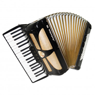 Original Piano Accordion Lignatone Melodia III, 80 Bass, incl Case New Straps 1713, made in Czechoslovakia, Very Beautiful sound.