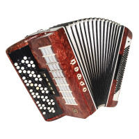 5 Row Button Accordion Orfey 120 Bass Concert Russian Bayan New Straps Case 1714, B System, Beautiful and Powerful sound.