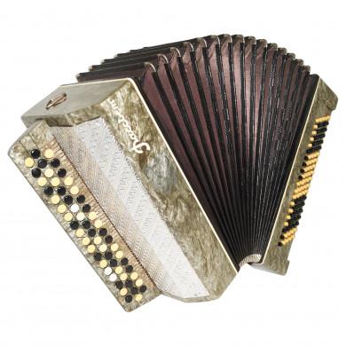 Folk Chromatic Button Accordion, Bayan Rassvet, 100 bass, made in Russia, 1720, New Straps, Very Beautiful Sound!