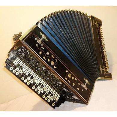 Handmade Copper Button Accordion 100 Bass, Antique Russian Bayan, Made in 1930s, 220