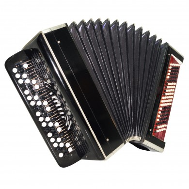 Vintage Bayan Tulskiy, made in Tula Russia, 100 Bass Button Accordion, Case 1507, New Straps, Very Beautiful and Powerful sound.