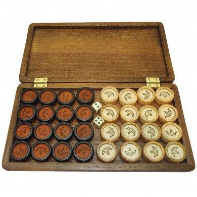 """Set of Luxury Wooden Backgammon Pieces / Chips With Leather Elements 1"""", 791"""