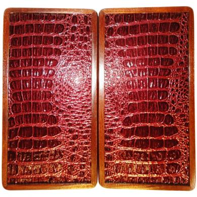 """12"""" Travel Backgammon Set Red Crocodile Leather Wooden Board Game, Pieces & Dices"""