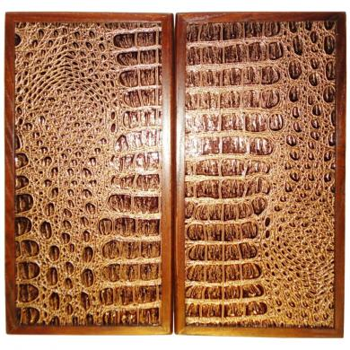 "12"" Alligator Leather Travel Backgammon Set Wooden Board Game"