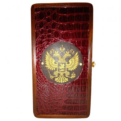 "12"" Russian Backgammon Set National Emblem Double Headed Eagle Leather Travel"