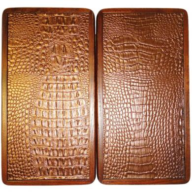 "12"" Travel Backgammon Set Sea Anchor Wooden Board Game Crocodile Leather"