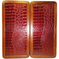 "15"" Backgammon Set Red Crocodile Alligator Leather Board Game Wood Pieces Dices"