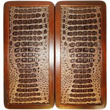 """15"""" Backgammon Set Gold Crocodile Leather Board Game Wooden, Pieces & Dices"""
