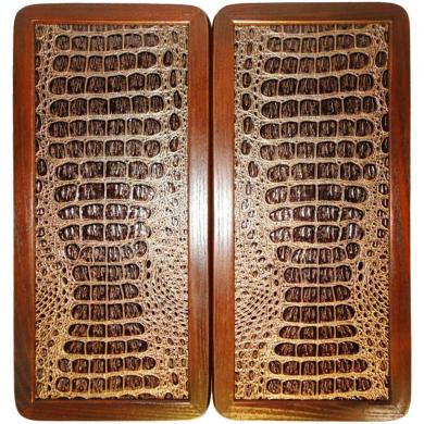 "15"" Backgammon Set Gold Crocodile Leather Board Game Wooden, Pieces & Dices"