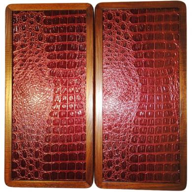 "16"" Red Crocodile Skin Backgammon Set Board Game Wood, Leather, Pieces, Dices"