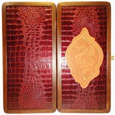 "16"" Gold Dragon Wooden Backgammon Set Ukrainian Handmade Leather Board Game"