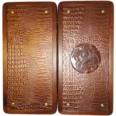 "16"" Lion Ukrainian Handmade Wooden Backgammon Set Board Game Crocodile Leather"