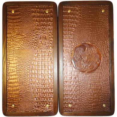 "16"" Backgammon Set Golden Eagle Board Game Wood Crocodile Leather, Piece of Art!"