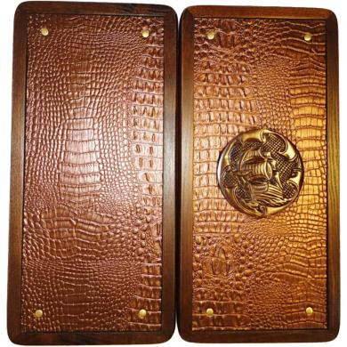 "16"" Sea Backgammon Tall Ship, Wooden Board Game, Crocodile Leather, Handmade Art"