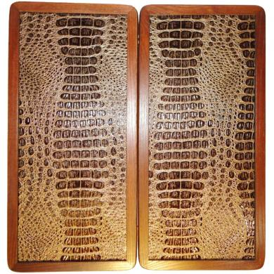 "21"" Gold Crocodile Leather Skin Backgammon Set Wooden Handmade Tournament Board"