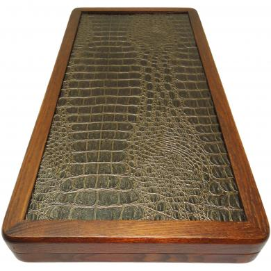"21"" Crocodile Wooden Backgammon Set Frigate, Handmade Tournament Board Game, 843"