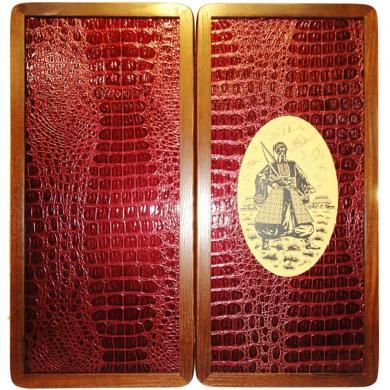 """21"""" Ukrainian Cossack Kozak Backgammon Set Board Game, Wooden Tournament Board"""