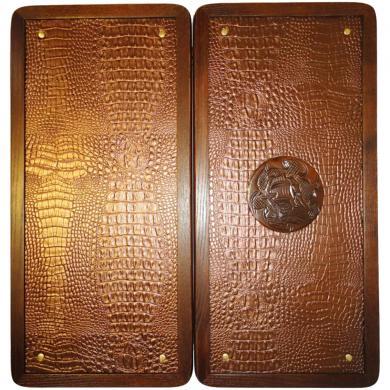 "21"" Crimea Backgammon Set Board Game, Crimean Sea Ship, Leather Pieces, Крым"