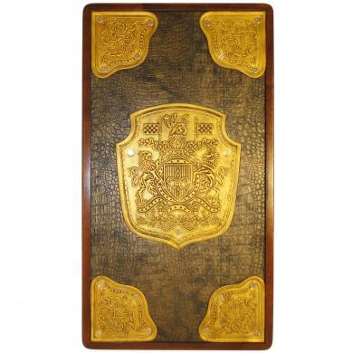 "21"" Golden Dynasty Luxury Backgammon Set, Leather & Wood, Tournament Board, 717, High Class Backgammon."