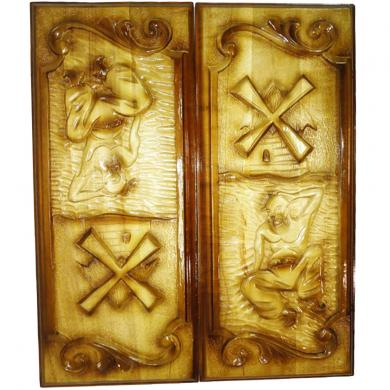 "24"" Unique New Carved Wooden Backgammon Board Game Art Work Ukrainian Cossack, 101"