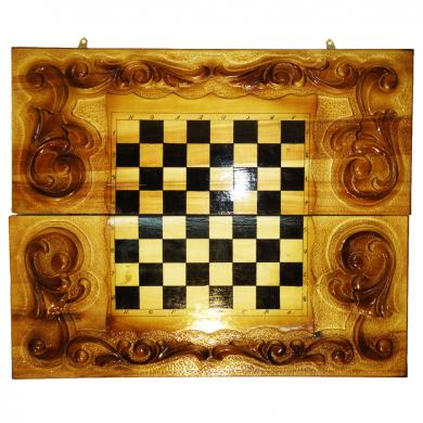 "24"" Backgammon, Chess & Checkers Set, Unique New Handmade Carved Board Game, 498"