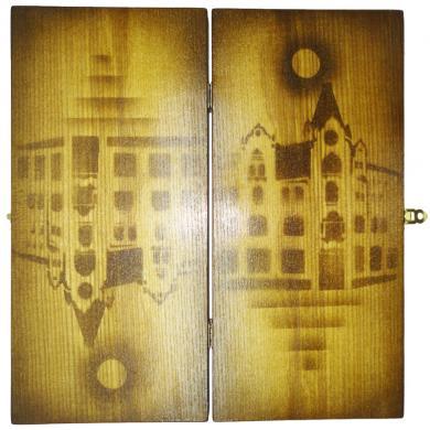 "13"" Ukrainian Wooden Handmade New Backgammon Board Game, 783"