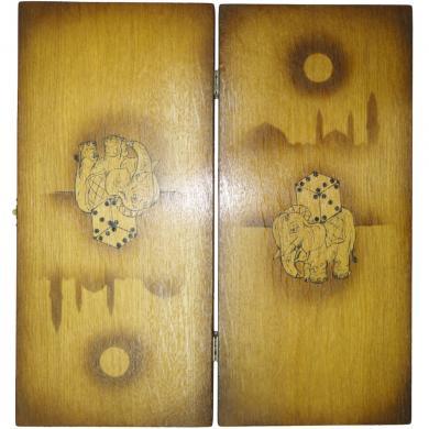 "13"" Elephant Wooden Handmade New Backgammon Board Game, 799"
