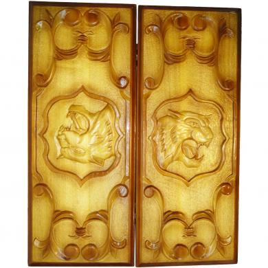"""24"""" Backgammon Set Tiger, New Handmade Carved Board Game, Wooden Piece Of Art, 816"""