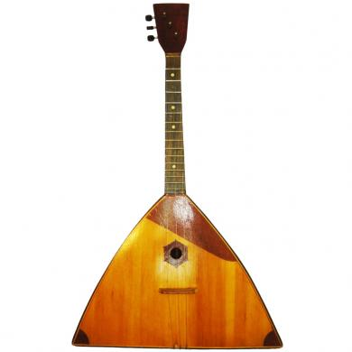 Vintage Balalaika, made in Chernigov, Ukraine, 3 Strings, 15 Frets Natural Wood, 858