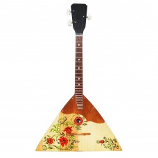 New Classic Original Russian Ukrainian Balalaika Prima 3 Strings Trembita! Natural Wood! Hand Painted Folk Art Ornament!