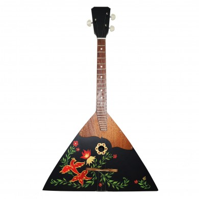 New Russian / Ukrainian Balalaika 3 Three String Prima, Black, Hand Painted! Wood! High Quality!