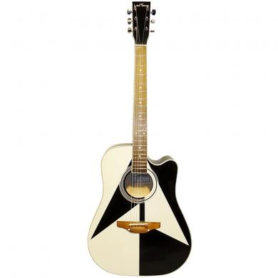 New Ukrainian 6 Strings Acoustic Guitar Leo Tone Black & White Graphic, 61